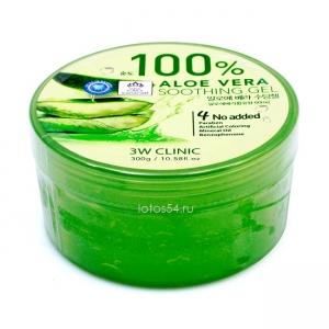 3W CLINIC Soothing & Moisture Aloe Gel 100%, 300 мл.