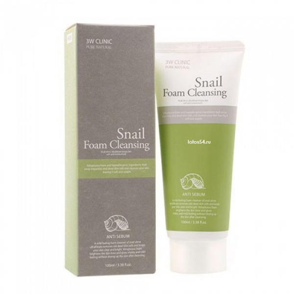 3W Clinic Foam Cleansing Anti Sebum SNAIL, 100мл.