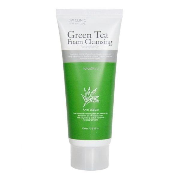 3W Clinic Foam Cleansing Anti Sebum Green Tea, 100мл.