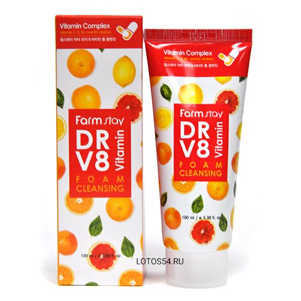FarmStay DR V8 Vitamin Foam Cleansing, 100мл