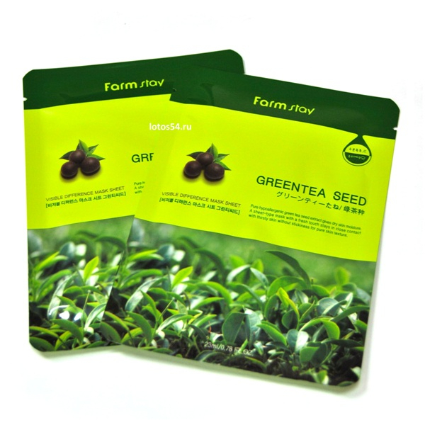 FarmStay Visible Difference Mask Sheet Greentea Seed, 1шт (23мл)