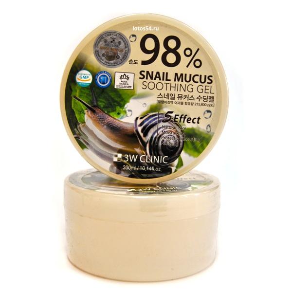 3W CLINIC Snail Shooting gel 98%, 300мл
