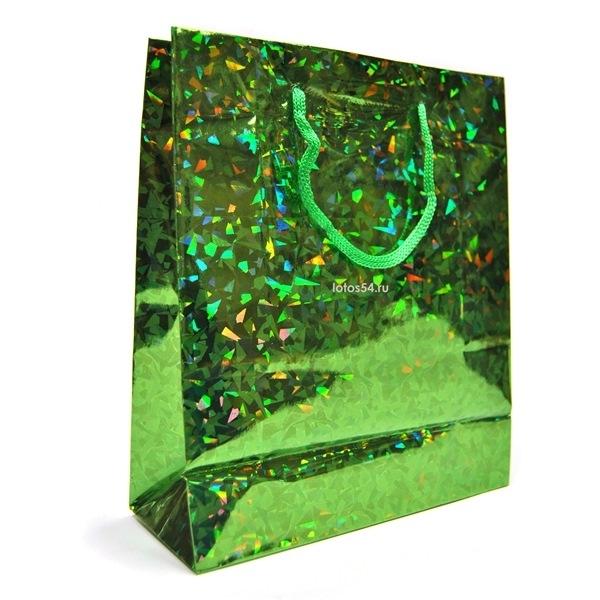 Подарочный пакет с ручками ИЗУМРУД. 21,5х18х7,5, 1шт