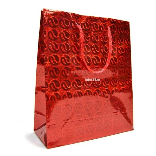 Подарочный пакет с ручками КРАСНЫЙ. 21,5х18х7,5, 1шт