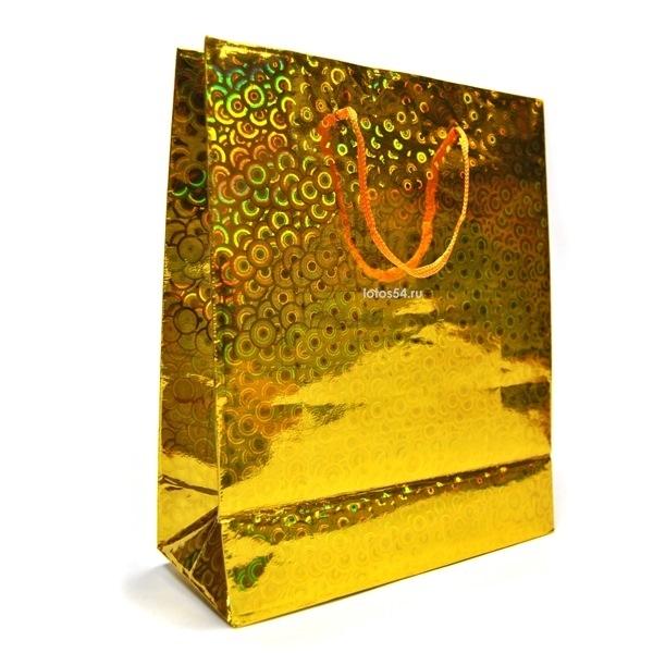 Подарочный пакет с ручками ЗОЛОТОЙ. 21,5х18х7,5, 1шт