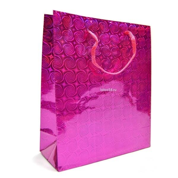 Подарочный пакет с ручками ФИОЛЕТОВЫЙ. 21,5х18х7,5, 1шт