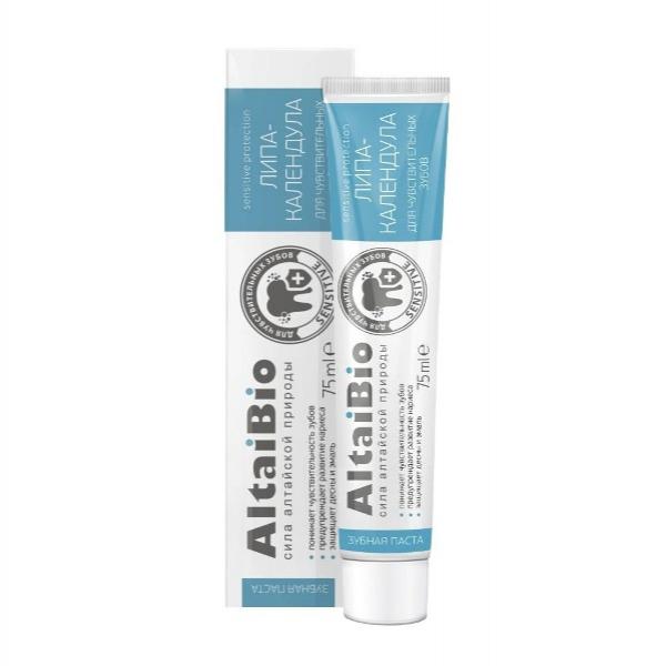 """AltaiBio Зубная паста для чувствительных зубов """"Липа-Календула"""", 75 мл."""